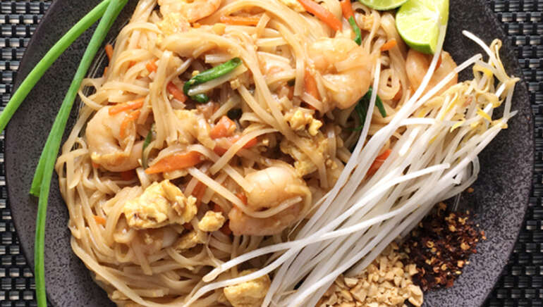 PAD THAI NOODLES: Tamarind and chicken/shrimp rice noodles
