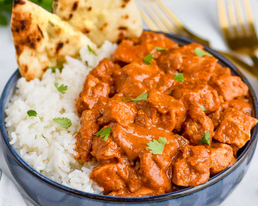 Indian Butter Chicken with Jasmine Rice and Naan Bread from scratch